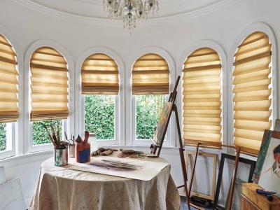 Римские шторы на арочные окна фото
