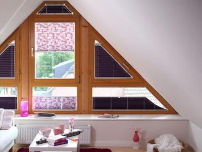 Римские шторы на треугольные окна фото